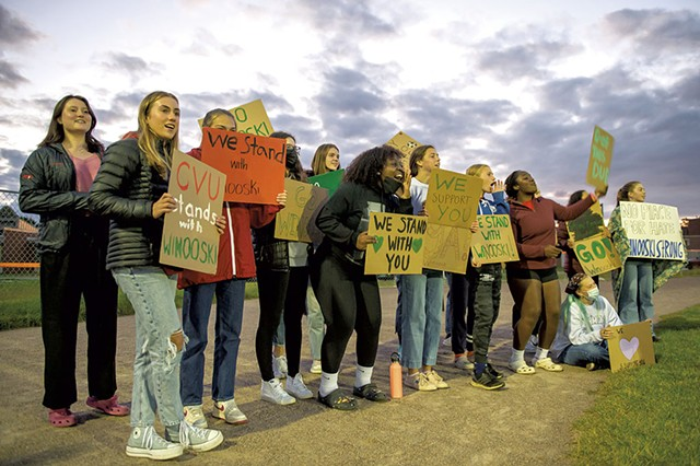 Students from Champlain Valley Union High School supporting the Winooski High School boys' soccer team - DARIA BISHOP