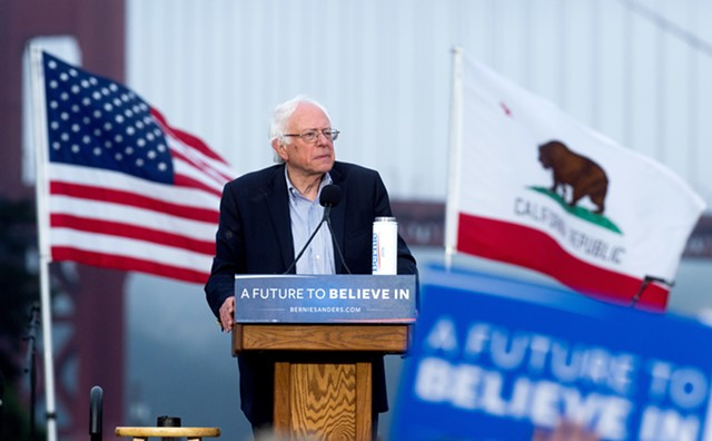 Sen. Bernie Sanders speaks Monday night in San Francisco. - AP PHOTO/NOAH BERGER