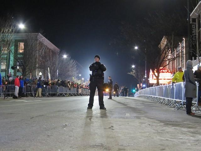 A Burlington Police Department officer on Main Street during the Trump rally - MATTHEW THORSEN