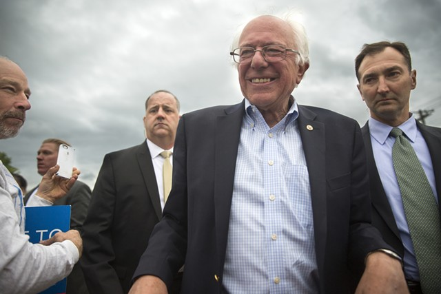 Sen. Bernie Sanders arrives in South Burlington Wednesday. - JAMES BUCK