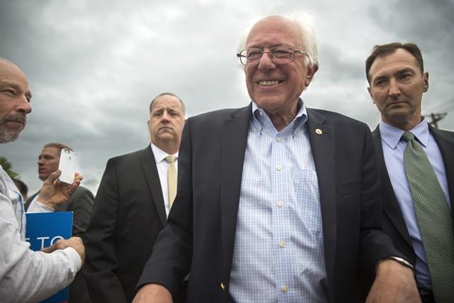 Sen. Bernie Sanders arrives in South Burlington Wednesday. - JAMES BUCK