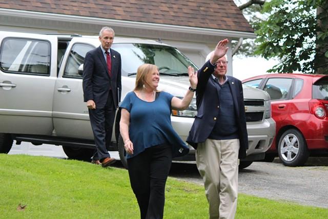 Jane O'Meara Sanders and Sen. Bernie Sanders at their Burlington home on Sunday - PAUL HEINTZ