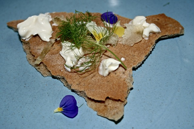 Rye crisp with perch at Elm - SUZANNE PODHAIZER