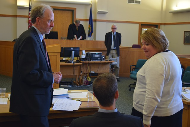 Defense attorneys David Williams (left) and Brooks McArthur confer with Deputy State's Attorney Diane Wheeler in Vermont Superior Court in St. Albans on Tuesday. - TERRI HALLENBECK