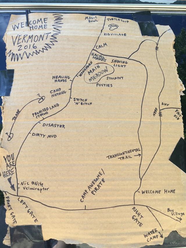 A handmade map of the campsite - MARK DAVIS