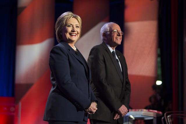 Sen. Bernie Sanders and Hillary Clinton at a debate  in New Hampshire in February - SCOTT EISEN/MSNBC
