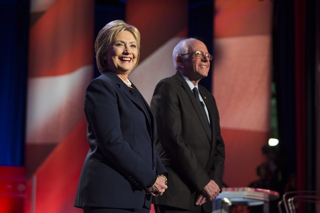 Sen. Bernie Sanders and Hillary Clinton at a debate  in New Hampshire in February - SCOTT EISEN/MSNBC