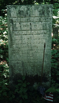 1999 photo of Zachariah Bassett's original marble headstone, reported stolen in May 2011 - COURTESY OF ARON GARCEAU/FINDAGRAVE.COM