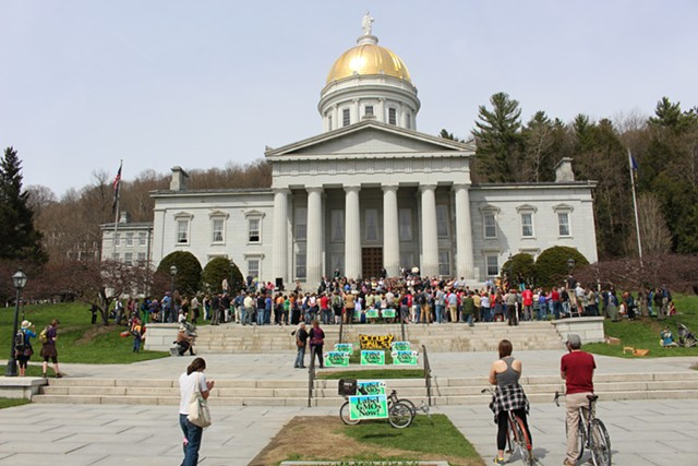 The 2014 signing of Vermont's GMO labeling law, which goes into effect Friday. - PAUL HEINTZ/FILE