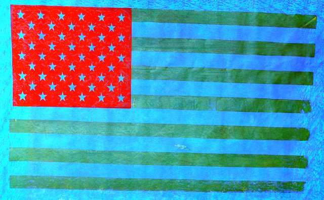 Hand-printed flag by James Bellizia. - COURTESY OF FROG HOLLOW AND THE WATERWHEEL FOUNDATION