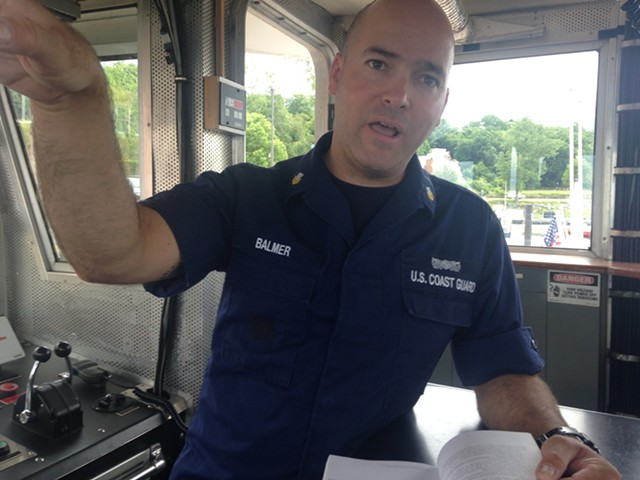 Jason Balmer, petty officer first class, at the U.S. Coast Guard Station in Burlington. - MOLLY WALSH