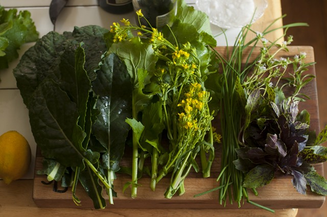 Fixings for a summer kale salad - HANNAH PALMER EGAN