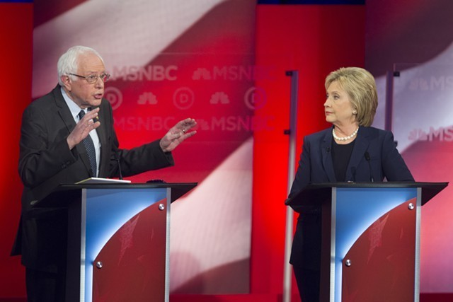 Sen. Bernie Sanders and Hillary Clinton debating in February in New Hampshire. - FILE: SCOTT EISEN/MSNBC