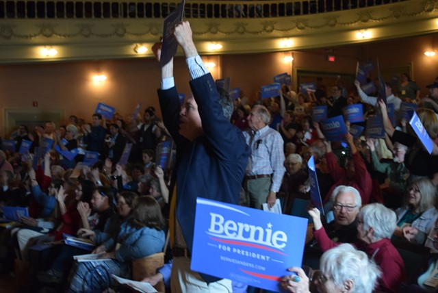 State convention delegates show their support for Sen. Bernie Sanders (I-Vt.) in Barre in May. - TERRI HALLENBECK