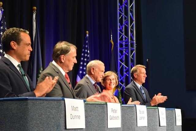 Five gubernatorial candidates appeared at a forum last month in Burlington. From left-right: Matt Dunne, Peter Galbraith, Bruce Lisman, Sue Minter and Phil Scott. - TERRI HALLENBECK