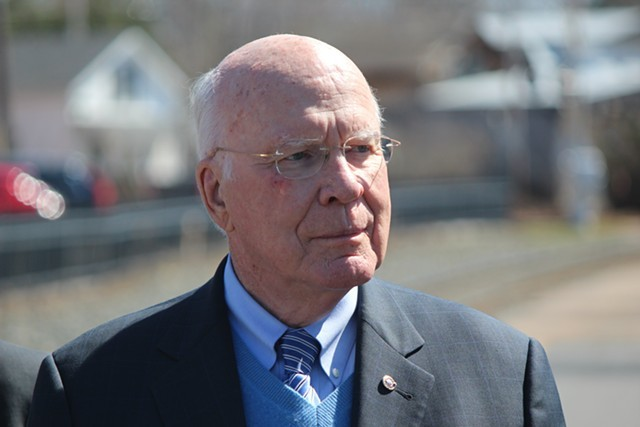Sen. Patrick Leahy in Essex Junction - PAUL HEINTZ