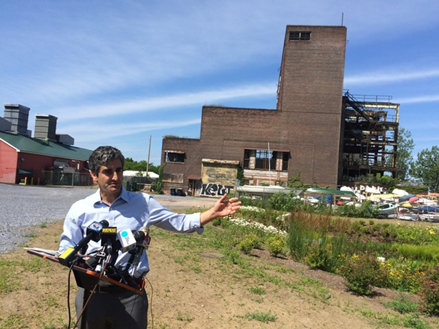 Mayor Miro Weinberger holds a press conference outside the Moran Plant on Thursday. - ALICIA FREESE