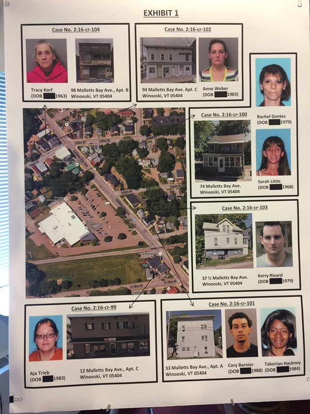 A map of apartments in Winooski where several residents allegedly facilitated drug trafficking. - MARK DAVIS