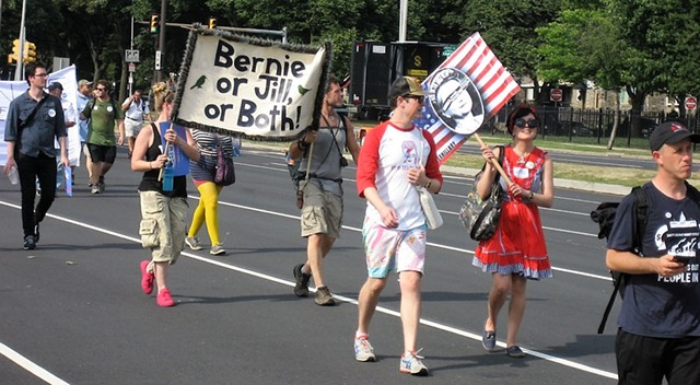 Some Sanders backers marching in Philadelphia Sunday showed support for Green Party candidate Jill Stein. - KEVIN J. KELLEY