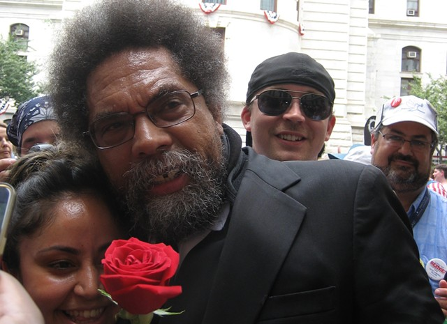 Stein supporter Cornel West outside Philadelphia City Hall prior to the day's second march. - KEVIN J. KELLEY