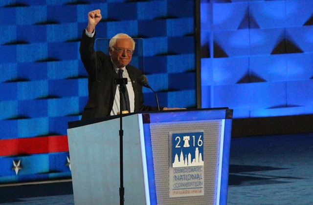 Sen. Bernie Sanders addresses the Democratic National Convention Monday night in Philadelphia. - PAUL HEINTZ