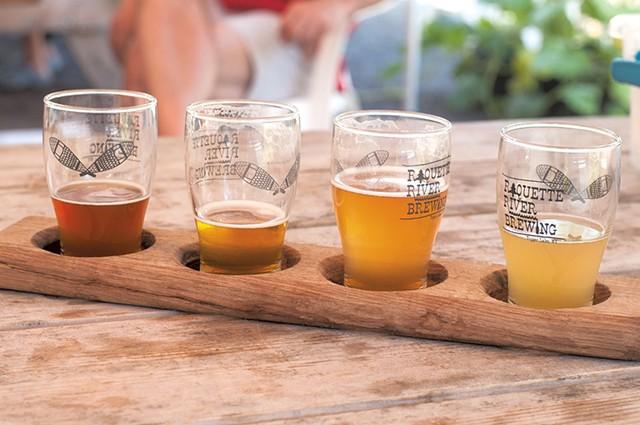 Samples of the brews at Raquette River Brewing - HANNAH PALMER EGAN