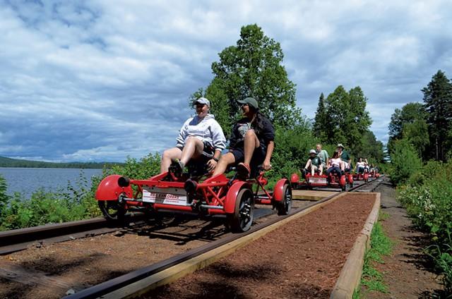 Rail bikes on a Rail Explorers tour - KEN PICARD