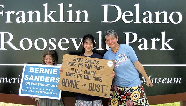 Deanna Cohen and her two daughters, Shalom Dinberg, 7, and Gabriella Goldstein, 13, after a march - KEVIN J. KELLEY