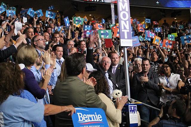 Bernie Sanders at the Democratic National Convention in Philadelphia - PAUL HEINTZ