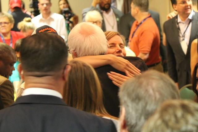 Sen. Bernie Sanders hugs Vermont delegate Shyla Nelson Wednesday morning in Philadelphia. - PAUL HEINTZ