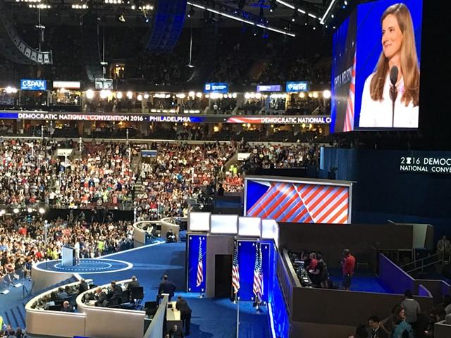 Shyla Nelson seconds Sen. Bernie Sanders' presidential nomination Tuesday at the Democratic National Convention in Philadelphia. - PAUL HEINTZ