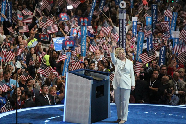Hillary Clinton accepts the Democratic presidential nomination Thursday night in Philadelphia. - PAUL HEINTZ