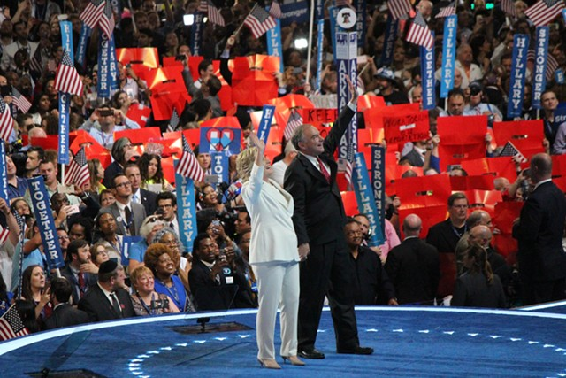 Hillary Clinton and Tim Kaine at the Democratic National Convention Thursday night in Philadelphia - PAUL HEINTZ
