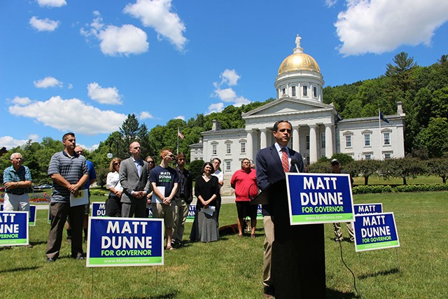 Matt Dunne holds a press conference in June at the Vermont Statehouse - PAUL HEINTZ