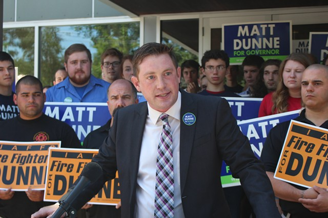 Dunne campaign manager Nick Charyk on Wednesday in White River Junction - PAUL HEINTZ