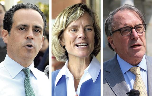 Gubernatorial candidates Matt Dunne, Sue Minter and Peter Galbraith - FILE