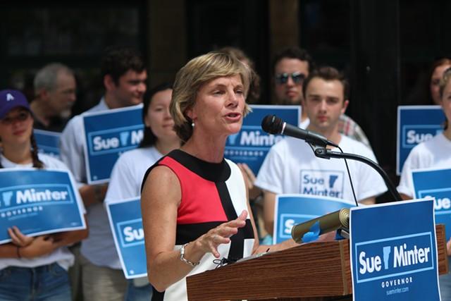 Sue Minter addresses supporters Monday afternoon at Burlington's Main Street Landing. - PAUL HEINTZ