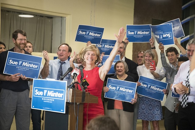 Democratic gubernatorial nominee Sue Minter celebrates Tuesday night in Burlington. - JAMES BUCK