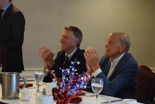 Phil Scott (left) and Bruce Lisman sit side by side Wednesday. - TERRI HALLENBECK