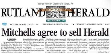 The front page of the Rutland Herald on August 11, 2016 - SCREENSHOT