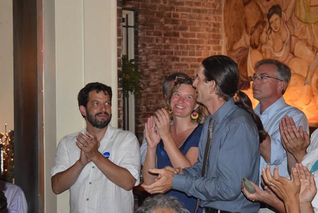 Rep. Chris Pearson (P-Burlington), left, celebrates primary election victories last week with lieutenant governor candidate David Zuckerman, center. - TERRI HALLENBECK