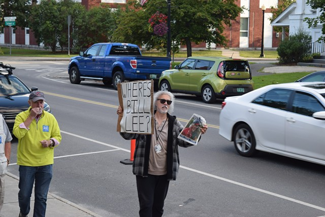 Ralph Corbo of East Wallingford protests outside the Chandler Music Hall in Randolph that Liberty Union candidate Bill Lee wasn't invited to Monday's gubernatorial debate. - TERRI HALLENBECK