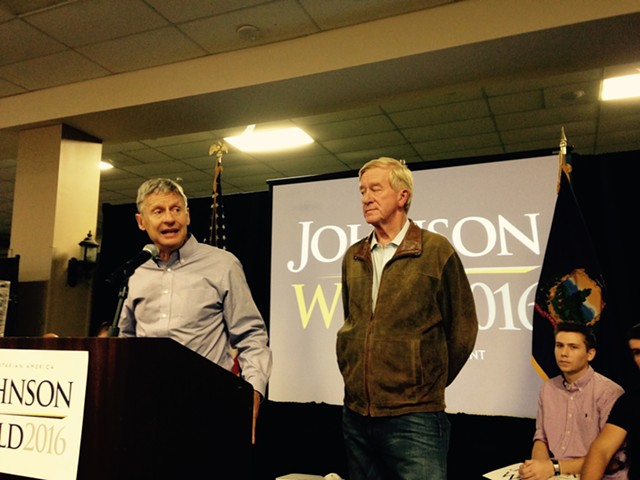 Gary Johnson (left) and William Weld in South Burlington - MOLLY WALSH