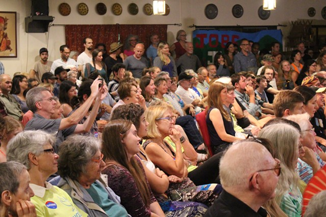 Audience members at Our Revolution's launch event Wednesday in Burlington - PAUL HEINTZ