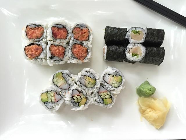 Asian Gourmet's no-frills sushi combo: spicy tuna, yellowtail-and-scallion, California roll - HANNAH PALMER EGAN