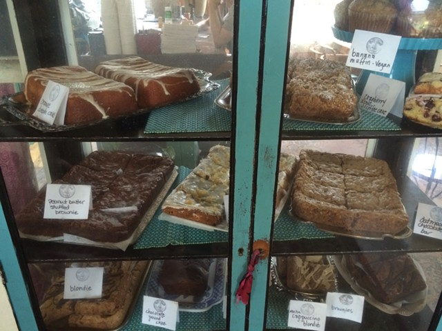 A case of homemade pastries at Moon Dog Café - JULIA CLANCY