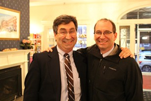 Andrew MacLean, a Montpelier-based lobbyist for Corrections Corporation of America, and former state representative Mike Fisher at a May 2014 fundraiser for House Democrats in Montpelier - FILE: PAUL HEINTZ