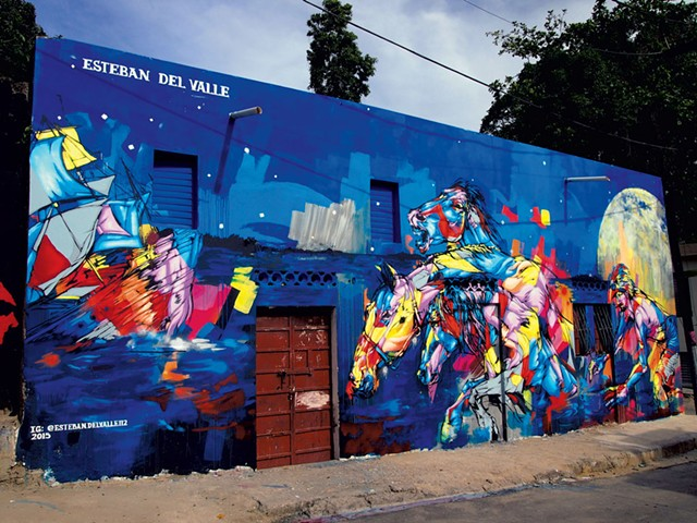 """Where this land begins and that water stops,"" mural by Esteban del Valle, Santo Domingo"
