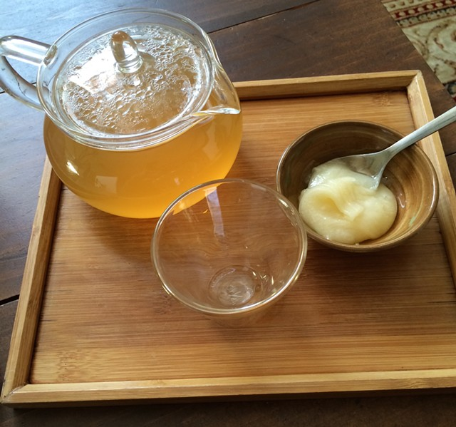 Ginger tea and raw honey at Stone Leaf Teahouse - JULIA CLANCY