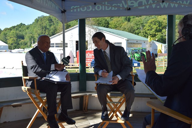 Republican candidate for lieutenant governor Randy Brock (left) debates Progressive/Democrat David Zuckerman (center) with WDEV radio talk show host Mike Smith at the Tunbridge Fair last week. - TERRI HALLENBECK